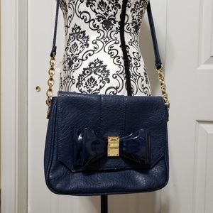 Deux lux  navy crossbody bow purse